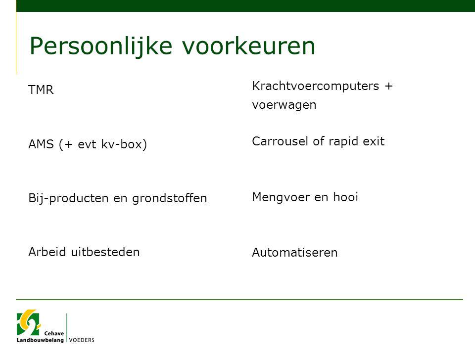 Persoonlijke voorkeuren TMR AMS (+ evt kv-box) Bij-producten en grondstoffen Arbeid uitbesteden Krachtvoercomputers + voerwagen Carrousel of rapid exi
