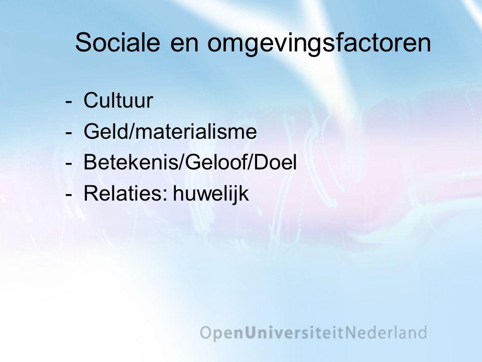 Sociale en omgevingsfactoren Cultuur Geld/materialisme Betekenis/Geloof/Doel Relaties: huwelijk
