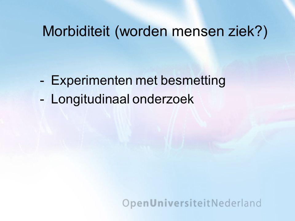 Morbiditeit (worden mensen ziek?) Experimenten met besmetting Longitudinaal onderzoek