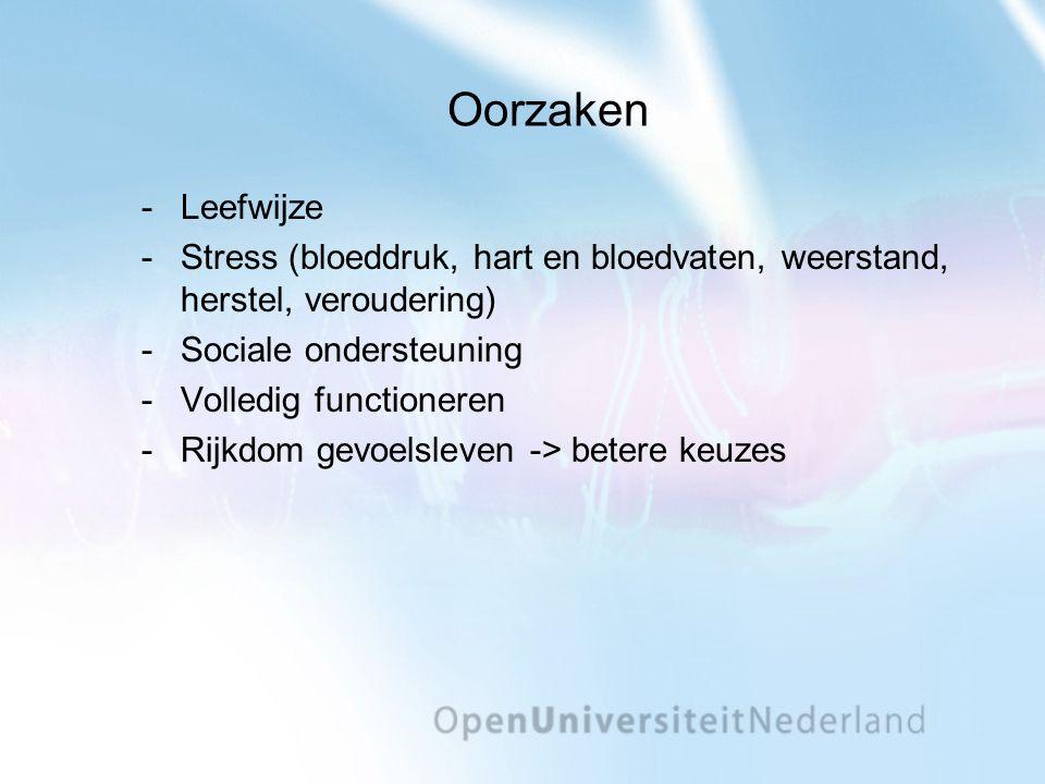 Oorzaken Leefwijze Stress (bloeddruk, hart en bloedvaten, weerstand, herstel, veroudering) Sociale ondersteuning Volledig functioneren Rijkdom gevoelsleven -> betere keuzes