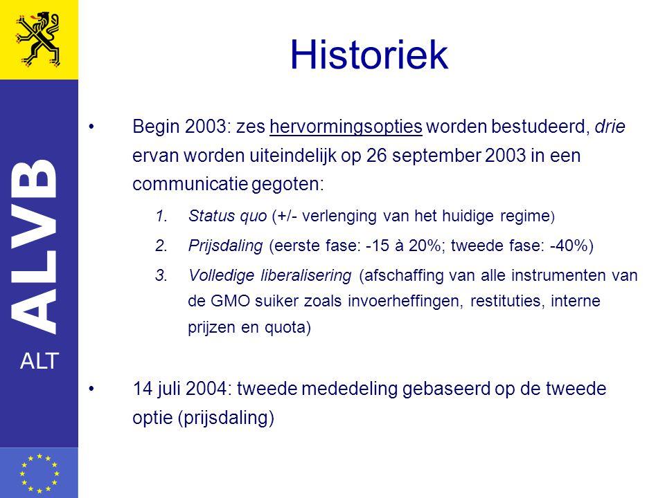 ALVB ALT Historiek Begin 2003: zes hervormingsopties worden bestudeerd, drie ervan worden uiteindelijk op 26 september 2003 in een communicatie gegoten: 1.Status quo (+/- verlenging van het huidige regime ) 2.Prijsdaling (eerste fase: -15 à 20%; tweede fase: -40%) 3.Volledige liberalisering (afschaffing van alle instrumenten van de GMO suiker zoals invoerheffingen, restituties, interne prijzen en quota) 14 juli 2004: tweede mededeling gebaseerd op de tweede optie (prijsdaling)
