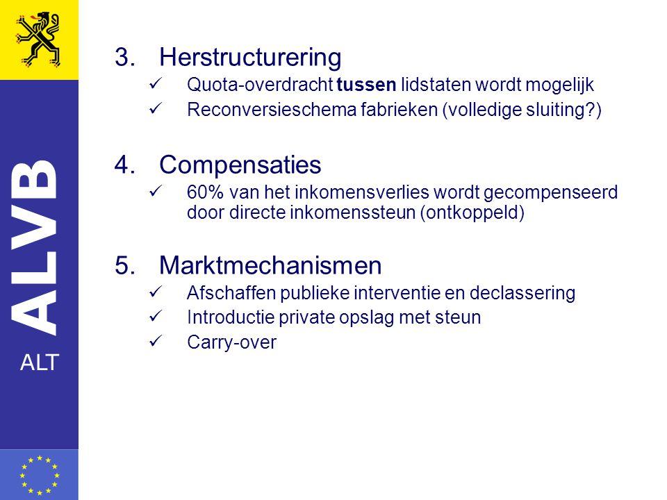 ALVB ALT 3.Herstructurering Quota-overdracht tussen lidstaten wordt mogelijk Reconversieschema fabrieken (volledige sluiting ) 4.Compensaties 60% van het inkomensverlies wordt gecompenseerd door directe inkomenssteun (ontkoppeld) 5.Marktmechanismen Afschaffen publieke interventie en declassering Introductie private opslag met steun Carry-over
