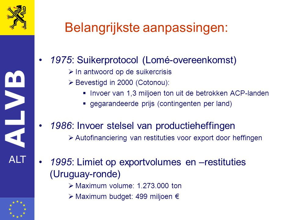 ALVB ALT Belangrijkste aanpassingen: 1975: Suikerprotocol (Lomé-overeenkomst)  In antwoord op de suikercrisis  Bevestigd in 2000 (Cotonou):  Invoer van 1,3 miljoen ton uit de betrokken ACP-landen  gegarandeerde prijs (contingenten per land) 1986: Invoer stelsel van productieheffingen  Autofinanciering van restituties voor export door heffingen 1995: Limiet op exportvolumes en –restituties (Uruguay-ronde)  Maximum volume: 1.273.000 ton  Maximum budget: 499 miljoen €