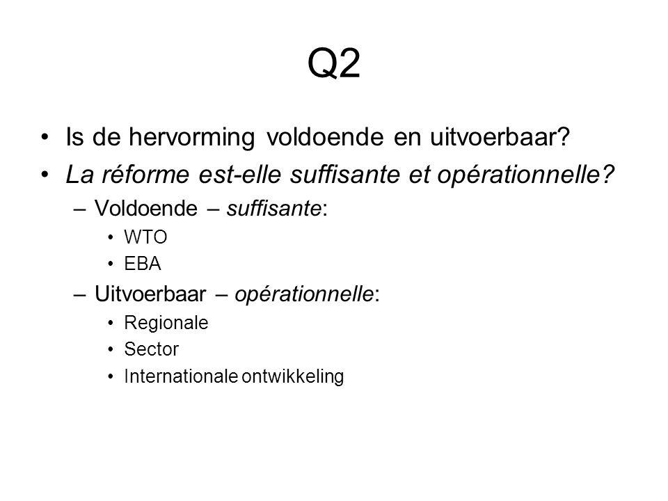 Q2 Is de hervorming voldoende en uitvoerbaar. La réforme est-elle suffisante et opérationnelle.