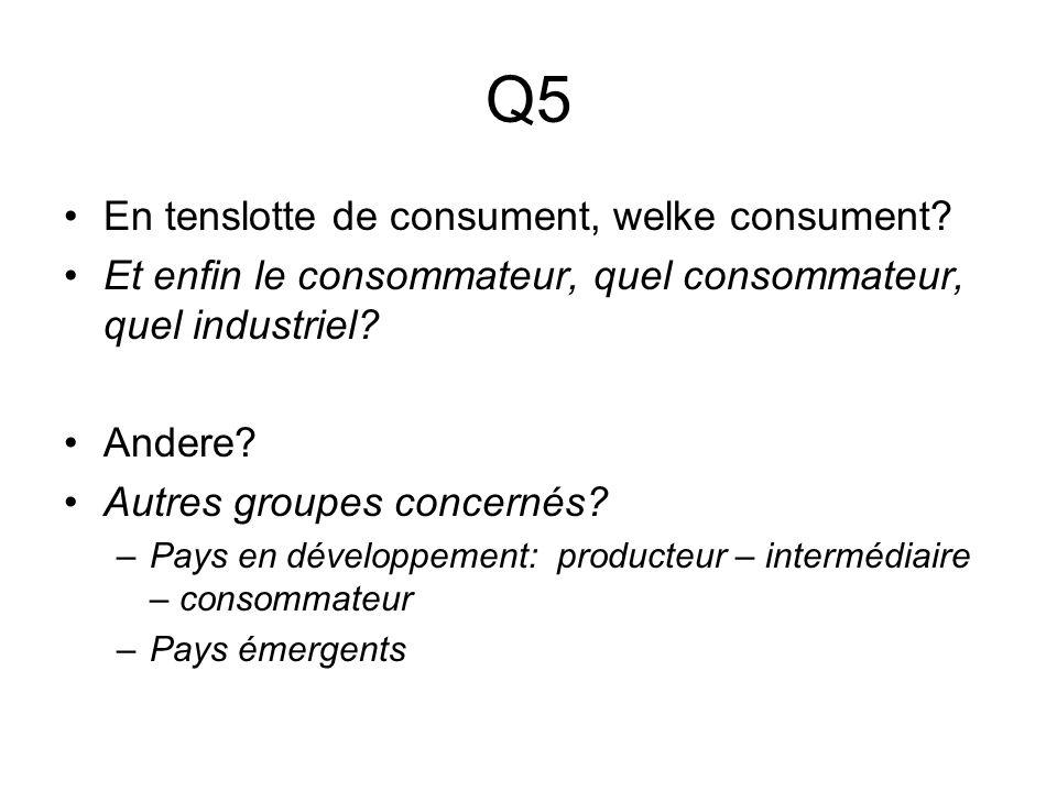 Q5 En tenslotte de consument, welke consument.