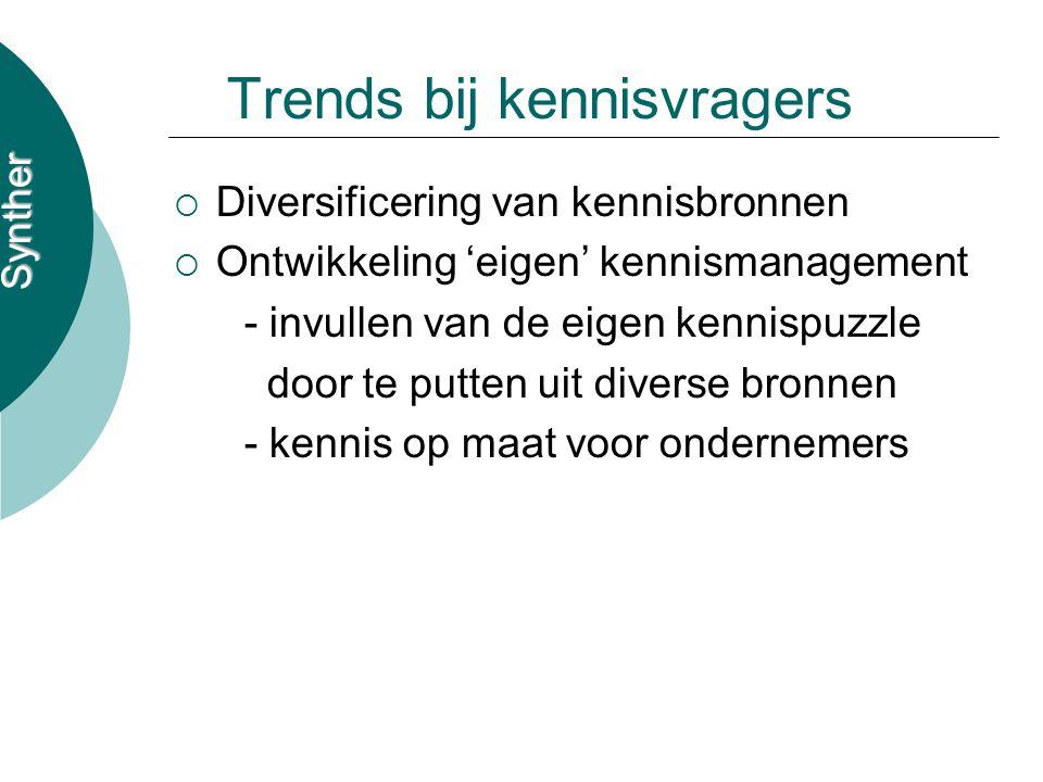 Synther Trends bij kennisvragers  Diversificering van kennisbronnen  Ontwikkeling 'eigen' kennismanagement - invullen van de eigen kennispuzzle door