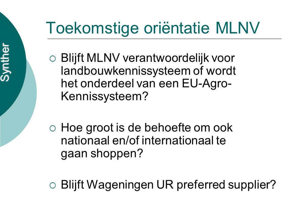 Synther Toekomstige oriëntatie MLNV  Blijft MLNV verantwoordelijk voor landbouwkennissysteem of wordt het onderdeel van een EU-Agro- Kennissysteem.