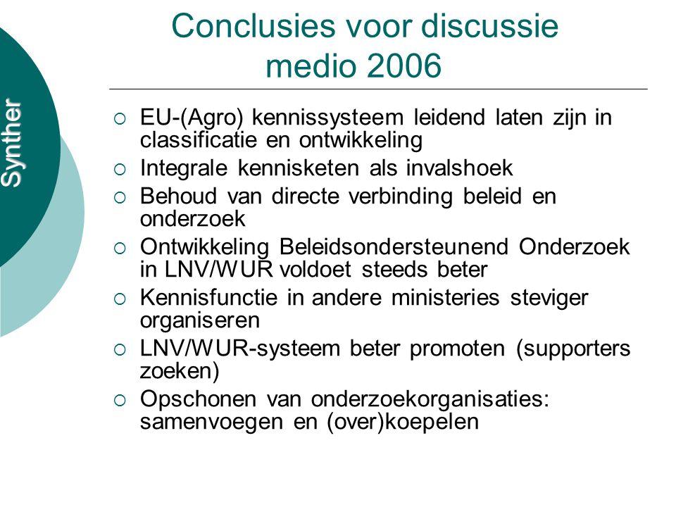 Synther Conclusies voor discussie medio 2006  EU-(Agro) kennissysteem leidend laten zijn in classificatie en ontwikkeling  Integrale kennisketen als invalshoek  Behoud van directe verbinding beleid en onderzoek  Ontwikkeling Beleidsondersteunend Onderzoek in LNV/WUR voldoet steeds beter  Kennisfunctie in andere ministeries steviger organiseren  LNV/WUR-systeem beter promoten (supporters zoeken)  Opschonen van onderzoekorganisaties: samenvoegen en (over)koepelen