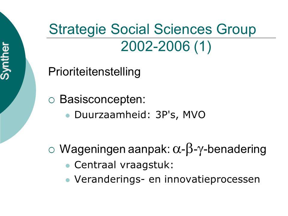 Synther Strategie Social Sciences Group 2002-2006 (1) Prioriteitenstelling  Basisconcepten: Duurzaamheid: 3P s, MVO  Wageningen aanpak:  -  -  -benadering Centraal vraagstuk: Veranderings- en innovatieprocessen