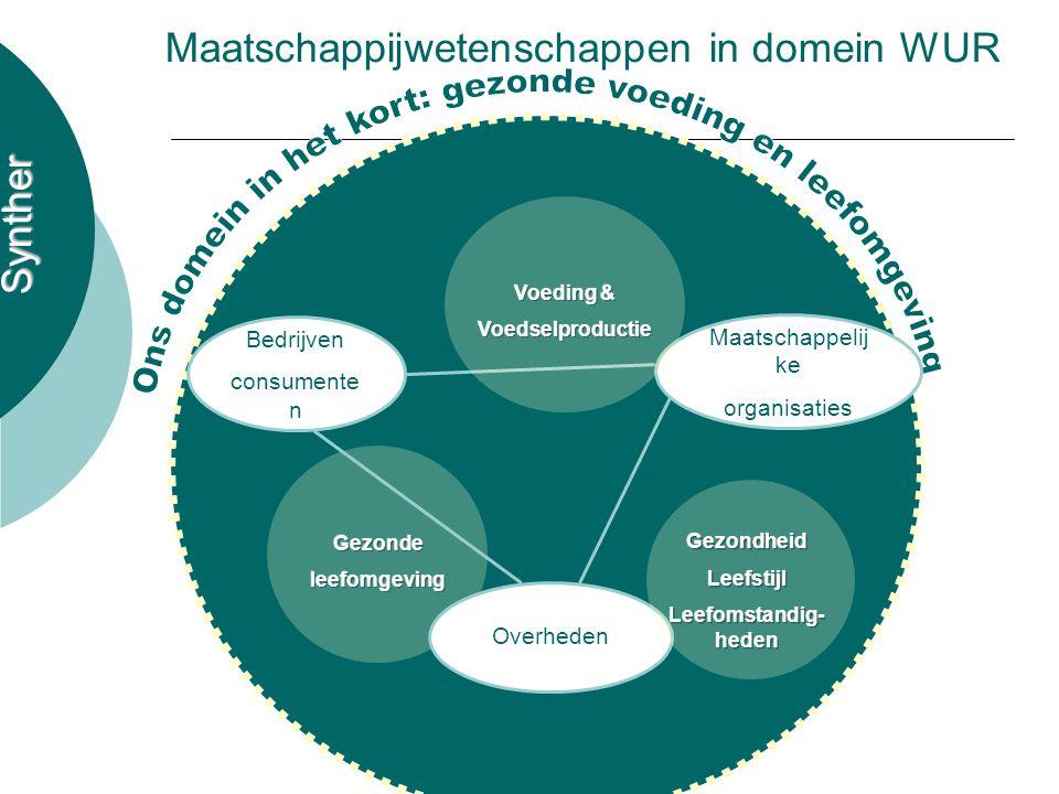 Synther Maatschappijwetenschappen in domein WUR Bedrijven consumente n Overheden Maatschappelij ke organisaties