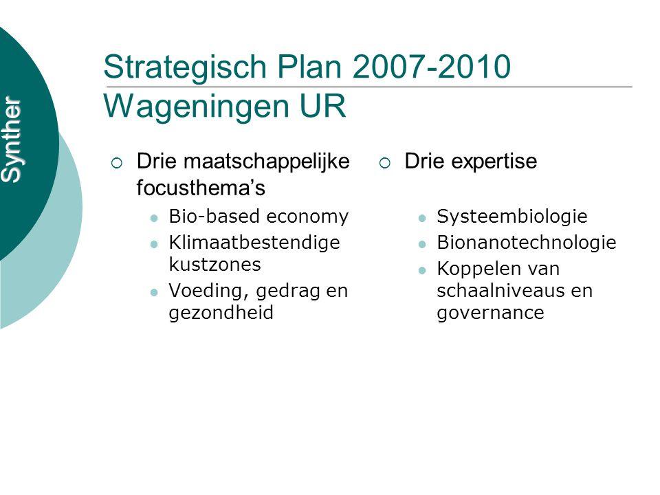 Synther Strategisch Plan 2007-2010 Wageningen UR  Drie maatschappelijke focusthema's Bio-based economy Klimaatbestendige kustzones Voeding, gedrag en
