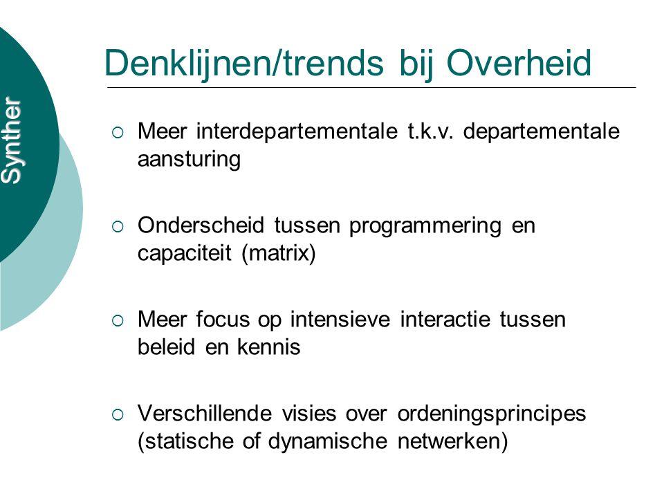 Synther Denklijnen/trends bij Overheid  Meer interdepartementale t.k.v. departementale aansturing  Onderscheid tussen programmering en capaciteit (m