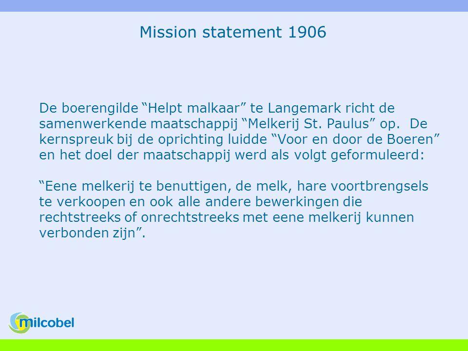 Mission statement 2005 Op een buitengewone algemene vergadering wordt de coöperatieve vennootschap met beperkte aansprakelijkheid Milcobel definitief goedgekeurd door de afgevaardigden van de leden.