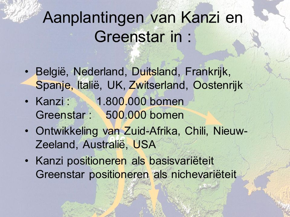 Aanplantingen van Kanzi en Greenstar in : België, Nederland, Duitsland, Frankrijk, Spanje, Italië, UK, Zwitserland, Oostenrijk Kanzi : 1.800.000 bomen Greenstar : 500.000 bomen Ontwikkeling van Zuid-Afrika, Chili, Nieuw- Zeeland, Australië, USA Kanzi positioneren als basisvariëteit Greenstar positioneren als nichevariëteit