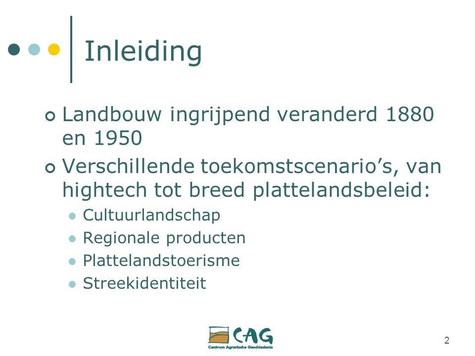 2 Inleiding Landbouw ingrijpend veranderd 1880 en 1950 Verschillende toekomstscenario's, van hightech tot breed plattelandsbeleid: Cultuurlandschap Regionale producten Plattelandstoerisme Streekidentiteit