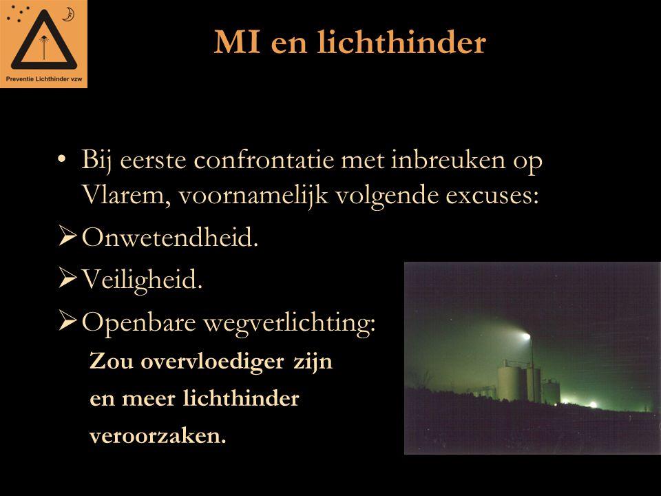MI en lichthinder Bij eerste confrontatie met inbreuken op Vlarem, voornamelijk volgende excuses:  Onwetendheid.  Veiligheid.  Openbare wegverlicht