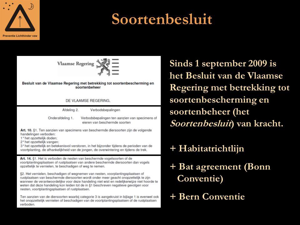 Soortenbesluit + Habitatrichtlijn + Bat agreement (Bonn Conventie) + Bern Conventie Sinds 1 september 2009 is het Besluit van de Vlaamse Regering met