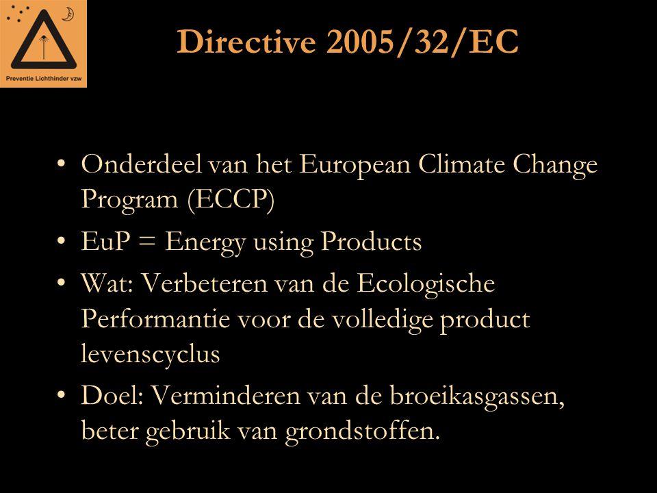 Directive 2005/32/EC Onderdeel van het European Climate Change Program (ECCP) EuP = Energy using Products Wat: Verbeteren van de Ecologische Performan