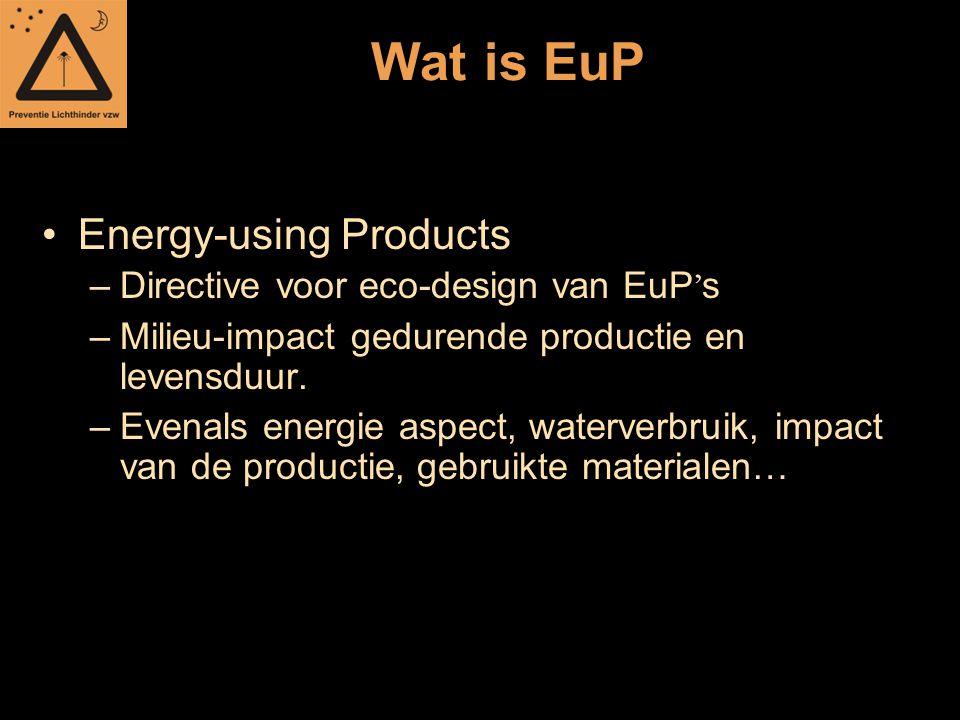 Wat is EuP Energy-using Products –Directive voor eco-design van EuP ' s –Milieu-impact gedurende productie en levensduur. –Evenals energie aspect, wat