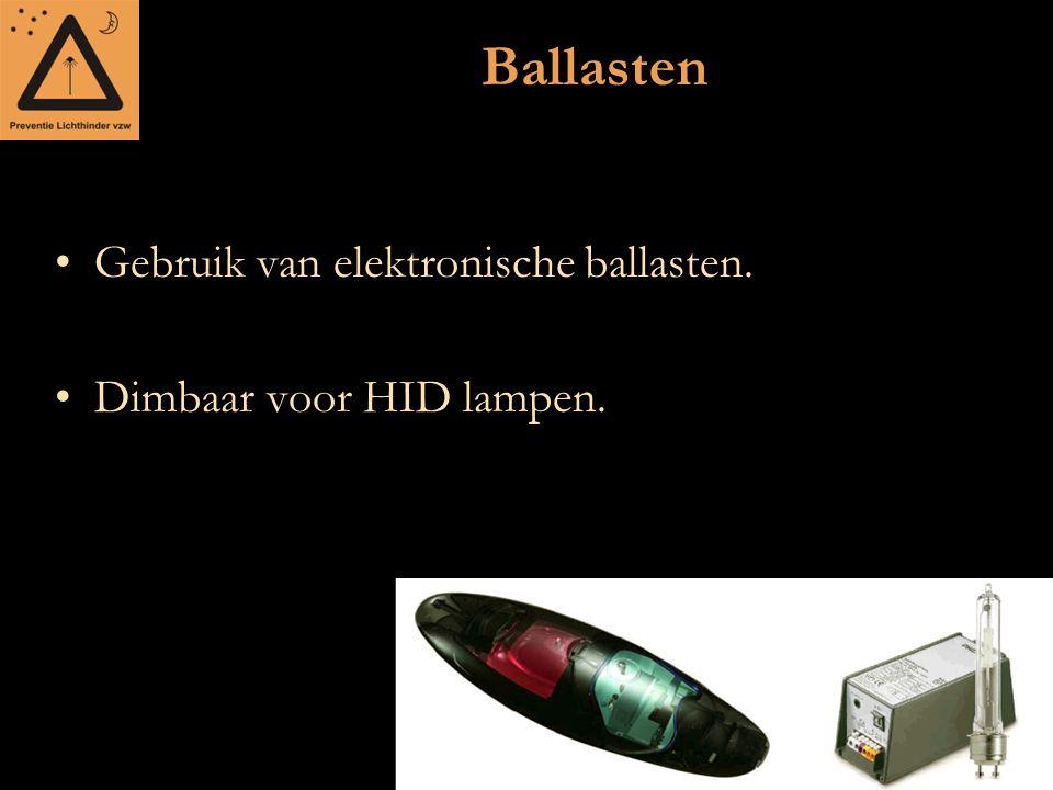Ballasten Gebruik van elektronische ballasten. Dimbaar voor HID lampen.