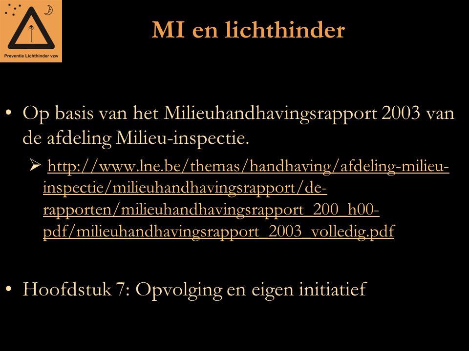 MI en lichthinder Op basis van het Milieuhandhavingsrapport 2003 van de afdeling Milieu-inspectie.  http://www.lne.be/themas/handhaving/afdeling-mili