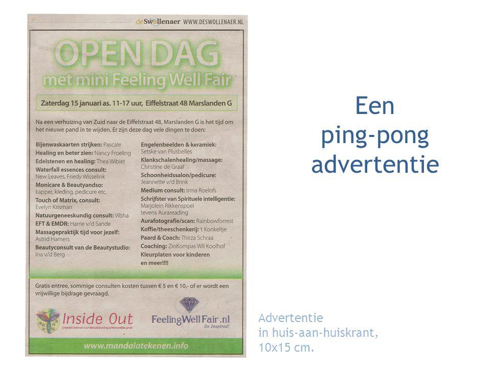 Een ping-pong advertentie Advertentie in huis-aan-huiskrant, 10x15 cm.