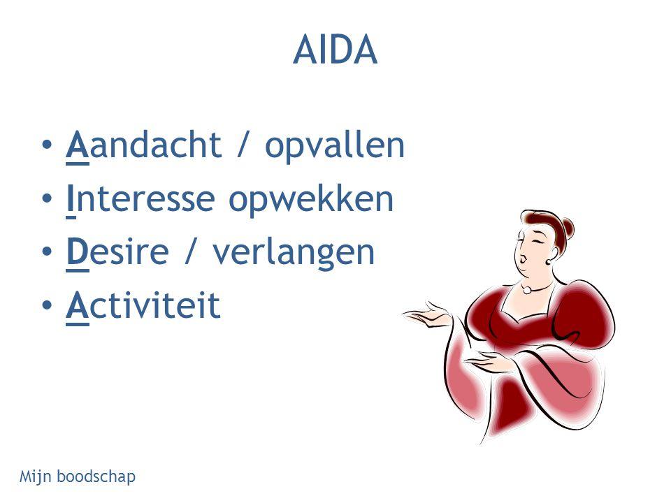 AIDA Aandacht / opvallen Interesse opwekken Desire / verlangen Activiteit Mijn boodschap