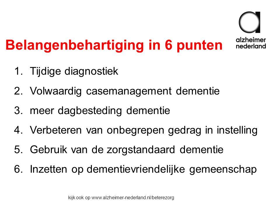 Belangenbehartiging in 6 punten 1.Tijdige diagnostiek 2.Volwaardig casemanagement dementie 3.meer dagbesteding dementie 4.Verbeteren van onbegrepen gedrag in instelling 5.Gebruik van de zorgstandaard dementie 6.Inzetten op dementievriendelijke gemeenschap kijk ook op www.alzheimer-nederland.nl/beterezorg