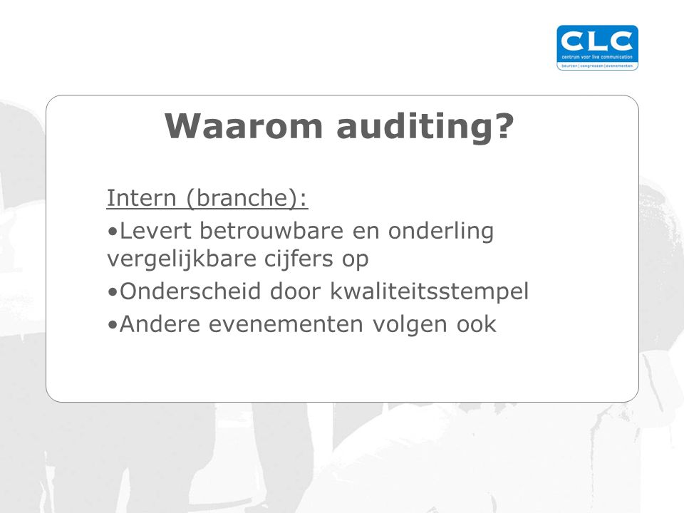 Waarom auditing.
