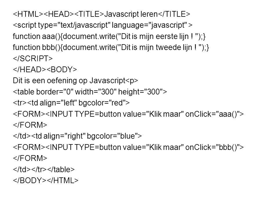 Javascript leren function rekenen() {var x=12;var y=5;var result=x + y;document.write(result)};