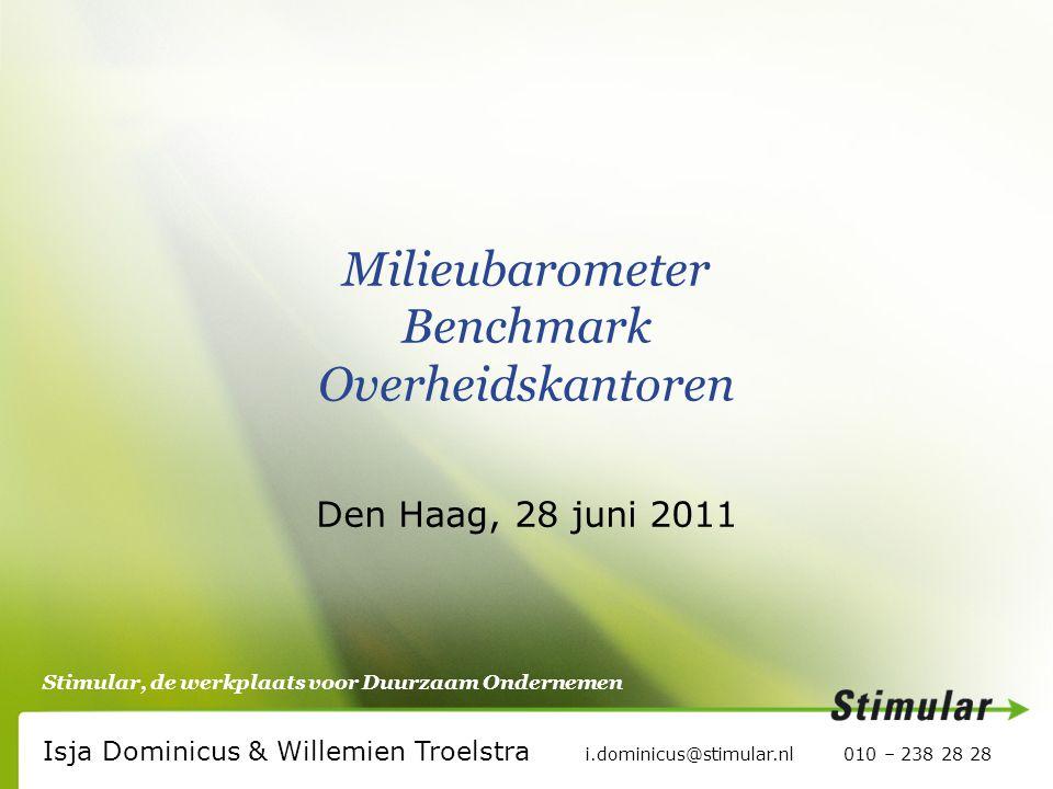 Stimular, de werkplaats voor Duurzaam Ondernemen Milieubarometer Benchmark Overheidskantoren Den Haag, 28 juni 2011 Isja Dominicus & Willemien Troelstra i.dominicus@stimular.nl 010 – 238 28 28