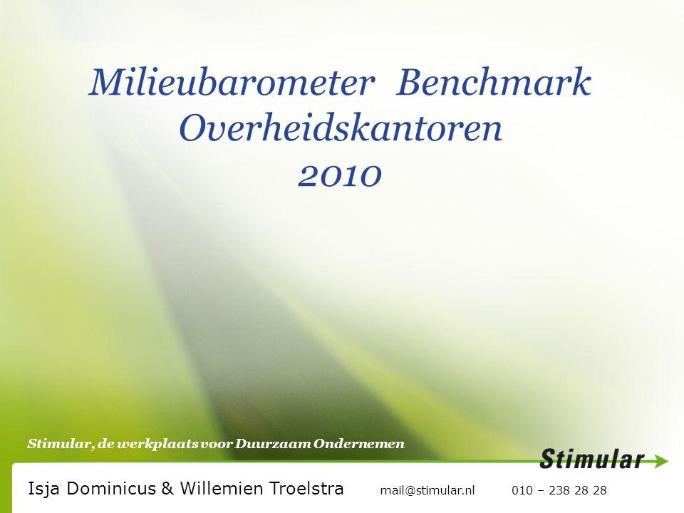 Stimular, de werkplaats voor Duurzaam Ondernemen Milieubarometer Benchmark Overheidskantoren 2010 Isja Dominicus & Willemien Troelstra mail@stimular.nl 010 – 238 28 28
