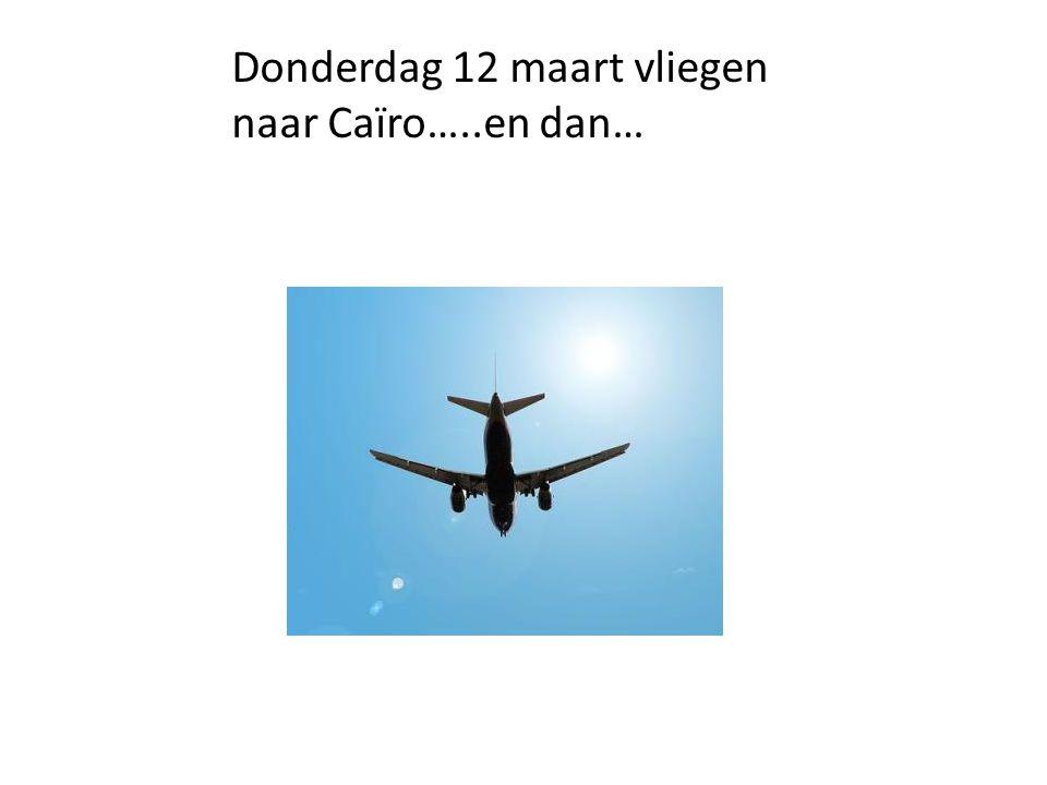 Donderdag 12 maart vliegen naar Caïro…..en dan…
