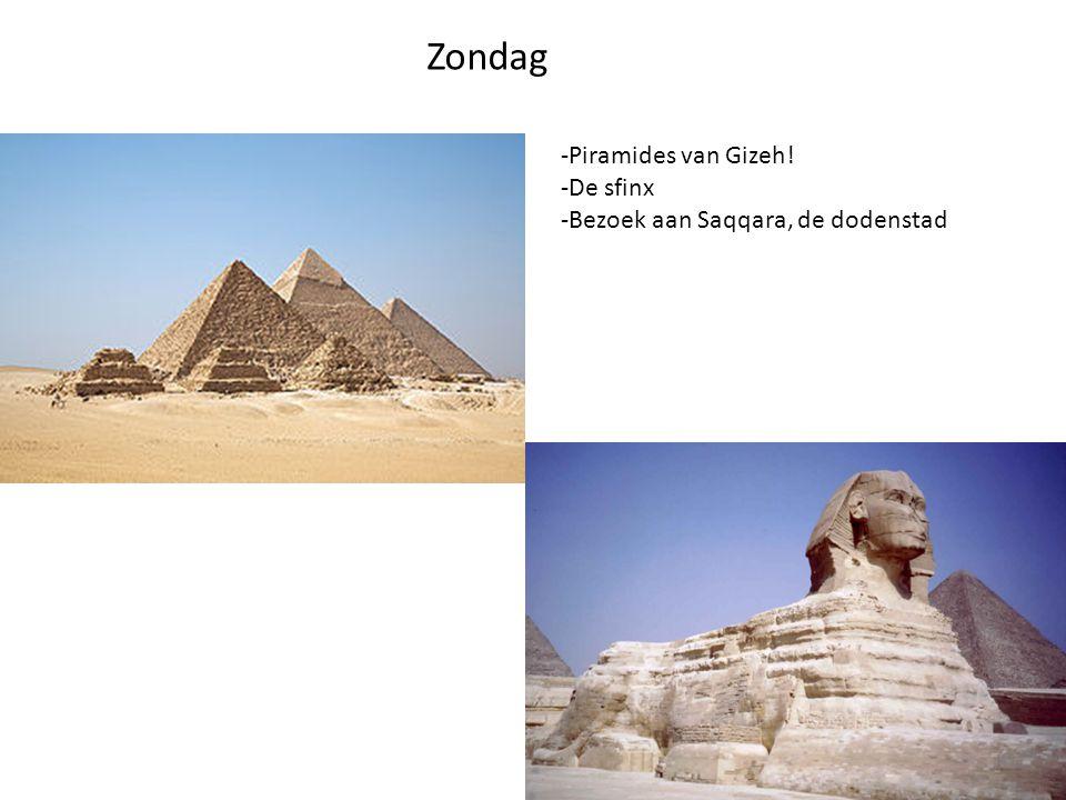 Zondag -Piramides van Gizeh! -De sfinx -Bezoek aan Saqqara, de dodenstad