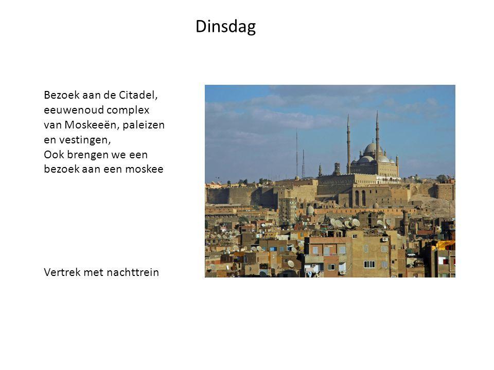 Dinsdag Bezoek aan de Citadel, eeuwenoud complex van Moskeeën, paleizen en vestingen, Ook brengen we een bezoek aan een moskee Vertrek met nachttrein