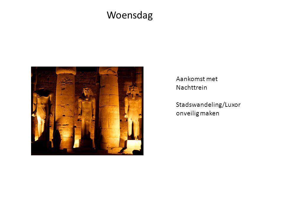 Woensdag Aankomst met Nachttrein Stadswandeling/Luxor onveilig maken