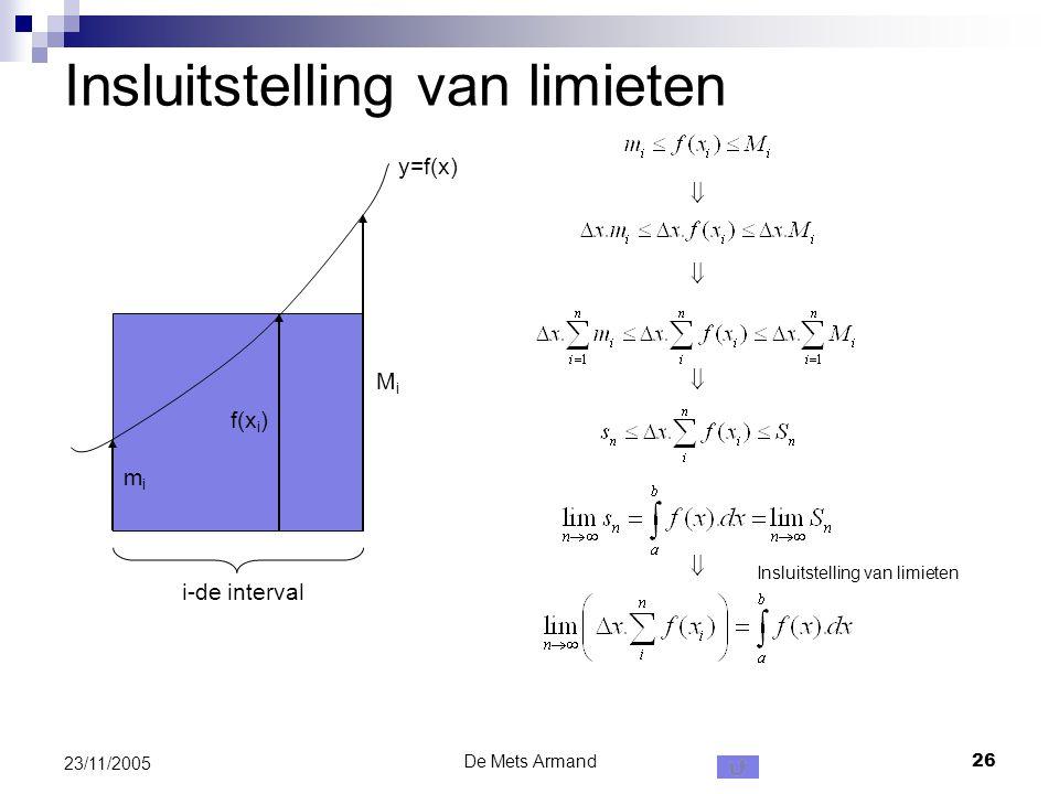 De Mets Armand26 23/11/2005 Insluitstelling van limieten y=f(x) i-de interval mimi f(x i ) MiMi     Insluitstelling van limieten