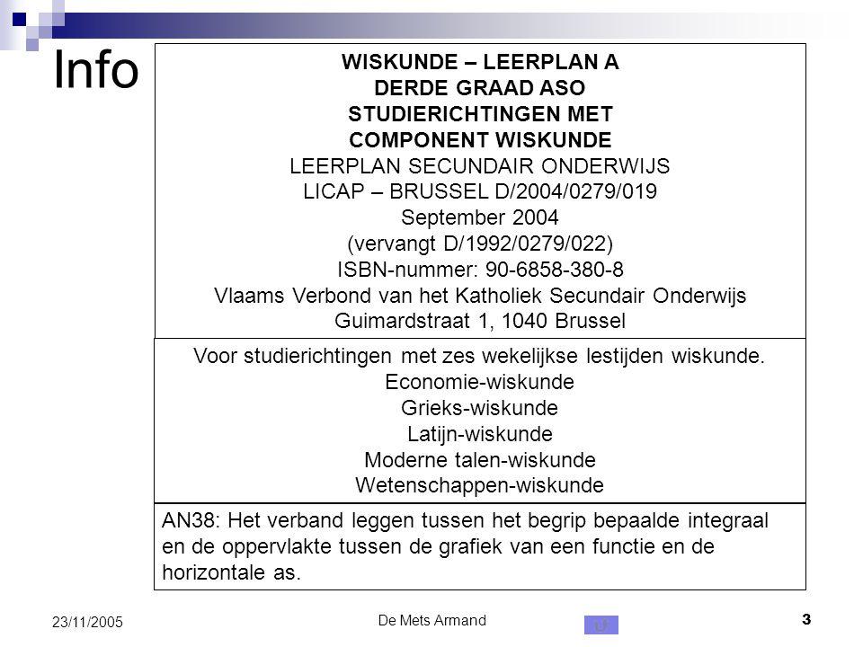 De Mets Armand3 23/11/2005 Info WISKUNDE – LEERPLAN A DERDE GRAAD ASO STUDIERICHTINGEN MET COMPONENT WISKUNDE LEERPLAN SECUNDAIR ONDERWIJS LICAP – BRU