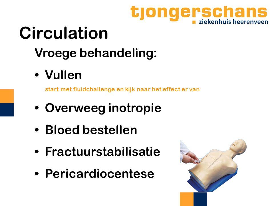 Circulation Vroege behandeling: Vullen start met fluidchallenge en kijk naar het effect er van Overweeg inotropie Bloed bestellen Fractuurstabilisatie