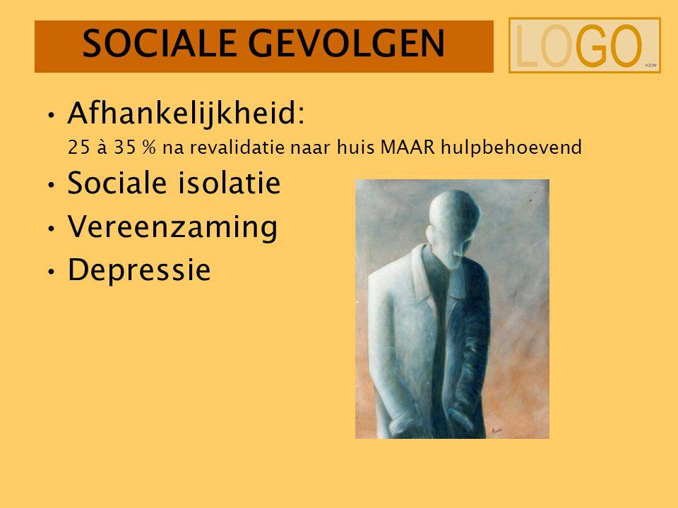 SOCIALE GEVOLGEN Afhankelijkheid: 25 à 35 % na revalidatie naar huis MAAR hulpbehoevend Sociale isolatie Vereenzaming Depressie