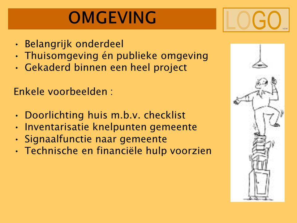OMGEVING Belangrijk onderdeel Thuisomgeving én publieke omgeving Gekaderd binnen een heel project Enkele voorbeelden : Doorlichting huis m.b.v.