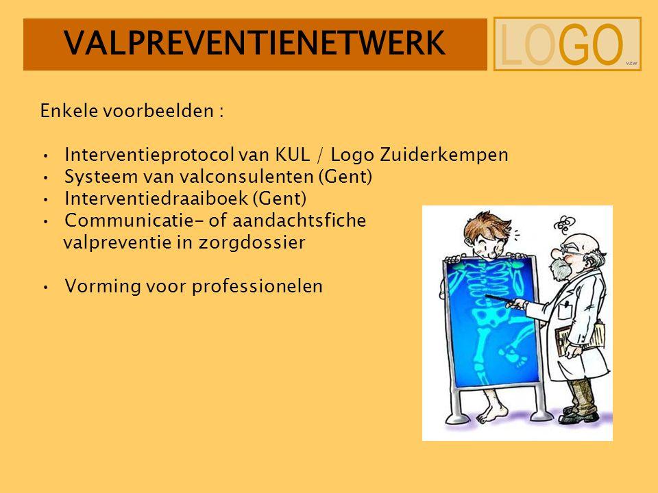 Enkele voorbeelden : Interventieprotocol van KUL / Logo Zuiderkempen Systeem van valconsulenten (Gent) Interventiedraaiboek (Gent) Communicatie- of aandachtsfiche valpreventie in zorgdossier Vorming voor professionelen VALPREVENTIENETWERK