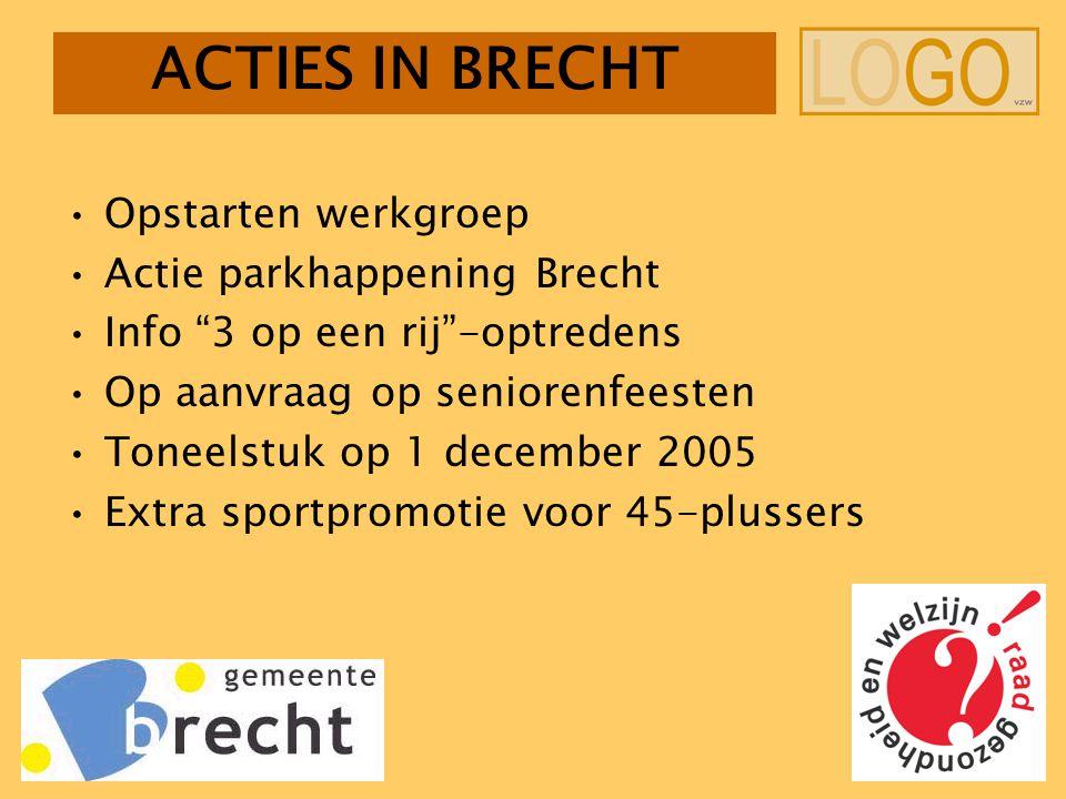 ACTIES IN BRECHT Opstarten werkgroep Actie parkhappening Brecht Info 3 op een rij -optredens Op aanvraag op seniorenfeesten Toneelstuk op 1 december 2005 Extra sportpromotie voor 45-plussers