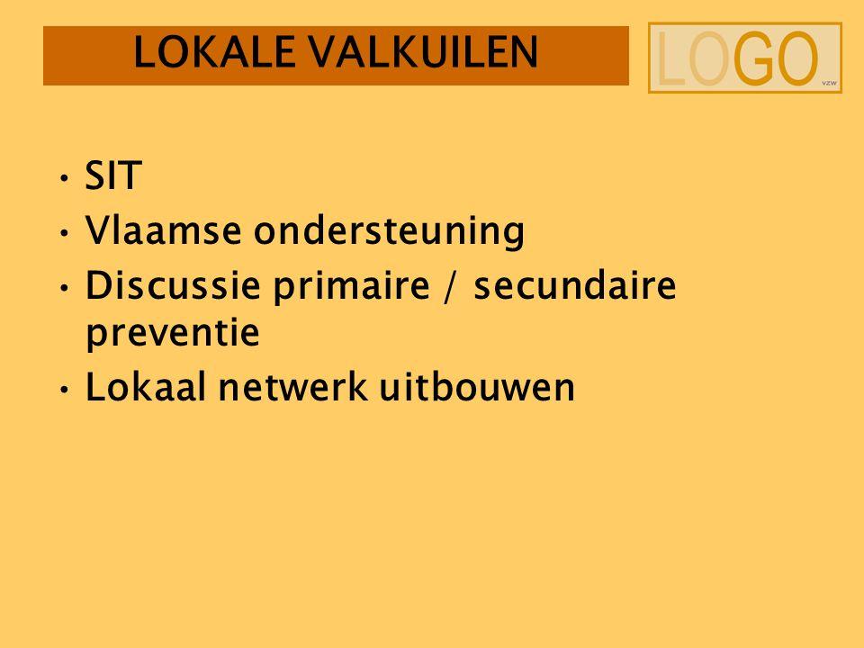 LOKALE VALKUILEN SIT Vlaamse ondersteuning Discussie primaire / secundaire preventie Lokaal netwerk uitbouwen