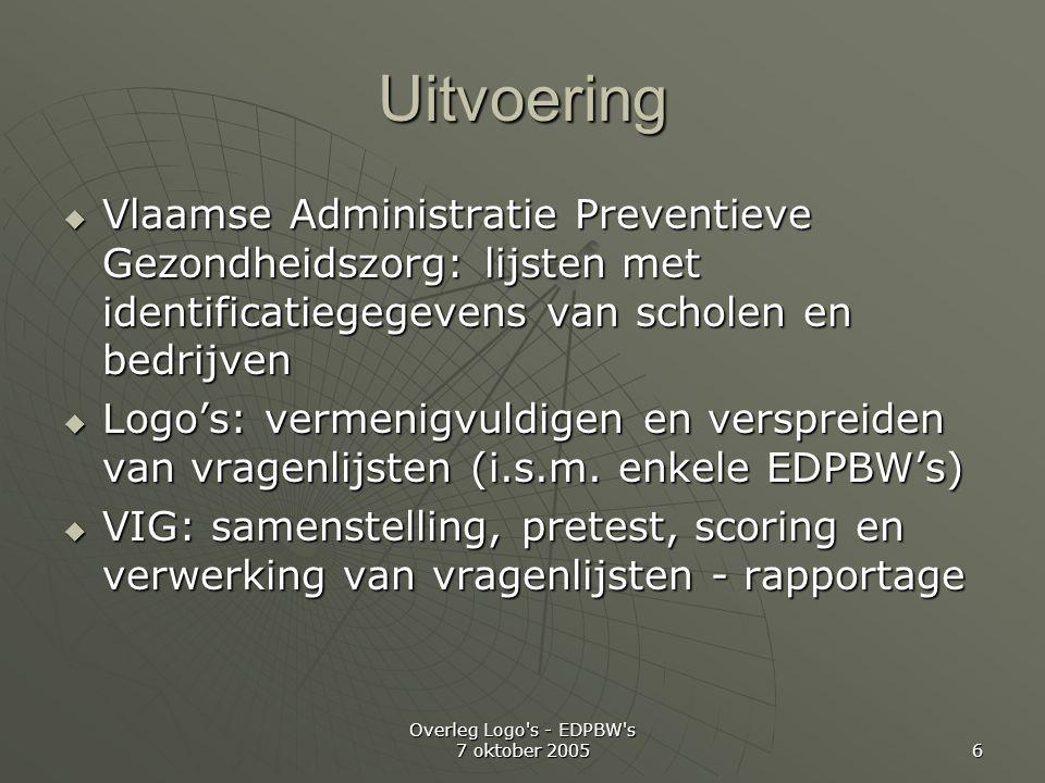 Overleg Logo s - EDPBW s 7 oktober 2005 6 Uitvoering  Vlaamse Administratie Preventieve Gezondheidszorg: lijsten met identificatiegegevens van scholen en bedrijven  Logo's: vermenigvuldigen en verspreiden van vragenlijsten (i.s.m.