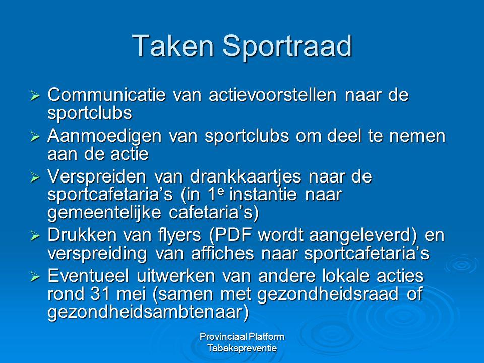 Provinciaal Platform Tabakspreventie Taken Sportraad  Communicatie van actievoorstellen naar de sportclubs  Aanmoedigen van sportclubs om deel te ne