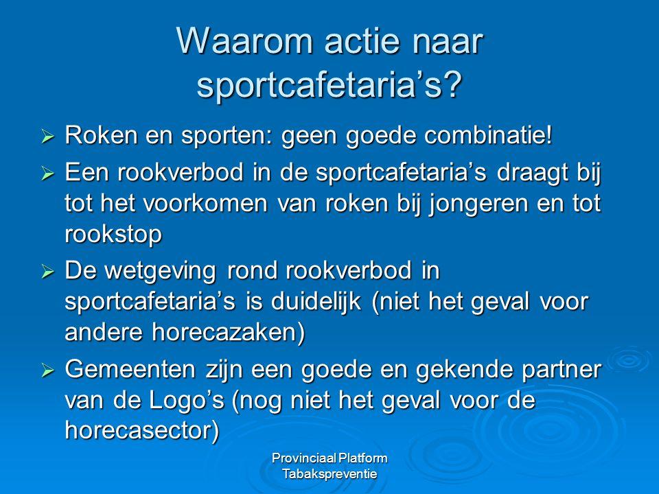 Provinciaal Platform Tabakspreventie Waarom actie naar sportcafetaria's?  Roken en sporten: geen goede combinatie!  Een rookverbod in de sportcafeta