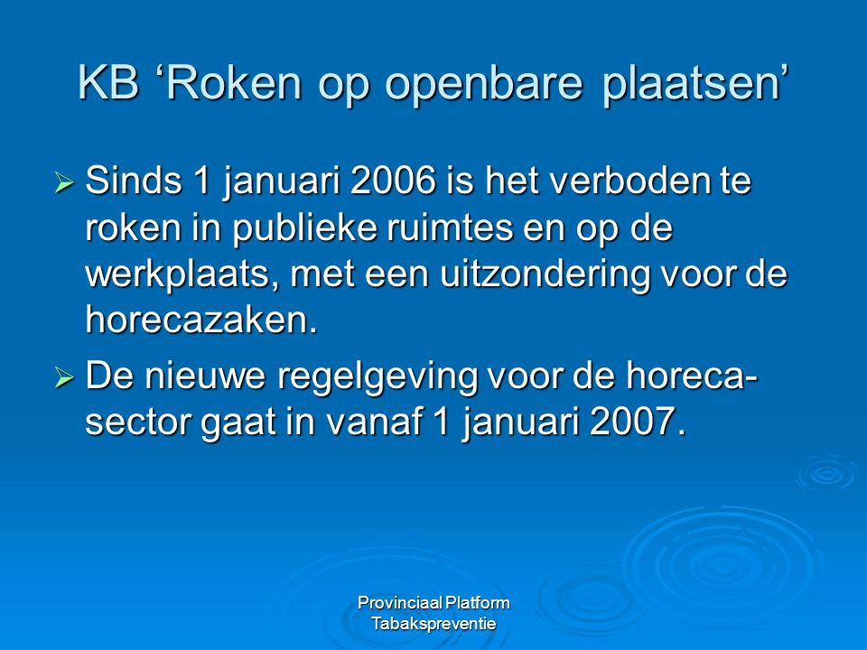 Provinciaal Platform Tabakspreventie KB 'Roken op openbare plaatsen'  Sinds 1 januari 2006 is het verboden te roken in publieke ruimtes en op de werk