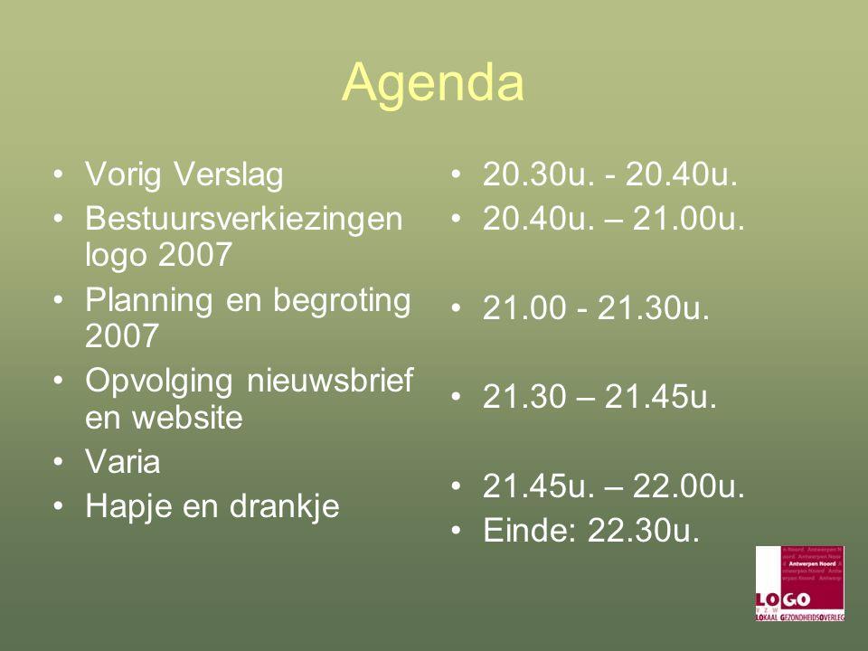 Agenda Vorig Verslag Bestuursverkiezingen logo 2007 Planning en begroting 2007 Opvolging nieuwsbrief en website Varia Hapje en drankje 20.30u.