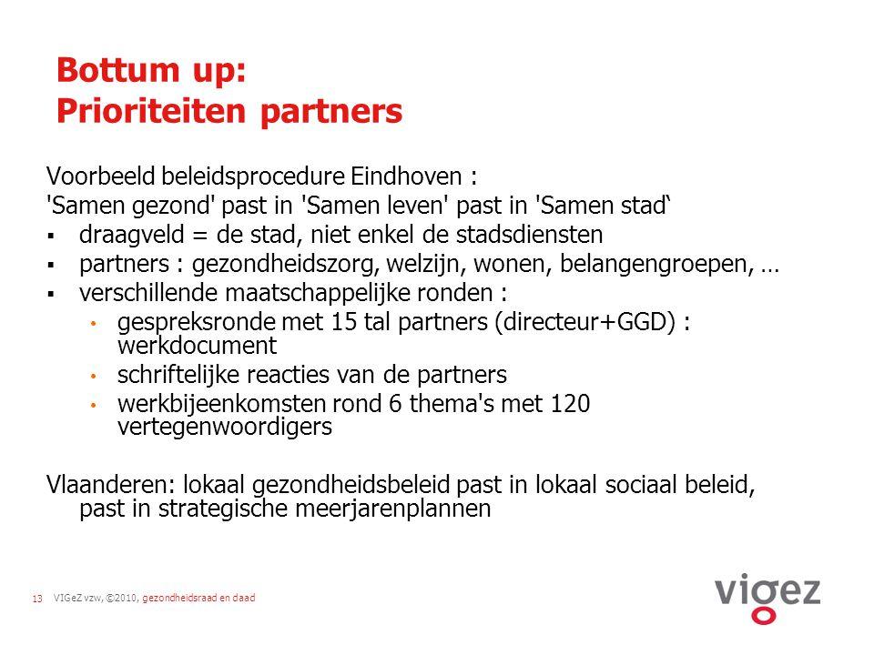 VIGeZ vzw, ©2010, gezondheidsraad en daad13 Bottum up: Prioriteiten partners Voorbeeld beleidsprocedure Eindhoven : Samen gezond past in Samen leven past in Samen stad'  draagveld = de stad, niet enkel de stadsdiensten  partners : gezondheidszorg, welzijn, wonen, belangengroepen, …  verschillende maatschappelijke ronden : gespreksronde met 15 tal partners (directeur+GGD) : werkdocument schriftelijke reacties van de partners werkbijeenkomsten rond 6 thema s met 120 vertegenwoordigers Vlaanderen: lokaal gezondheidsbeleid past in lokaal sociaal beleid, past in strategische meerjarenplannen